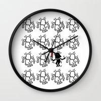keith haring Wall Clocks featuring Haring - étoiles W. #2 by Krikoui