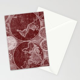 World Map (1794) Dark Red & White Stationery Cards