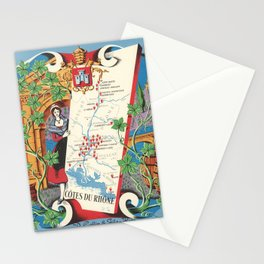 1950 Poster of Alsace, Loire Valley in France Stationery Cards