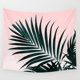 Modern tropical palm tree photography pastel pink ombre gradient Wall Tapestry