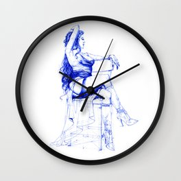 Lady Ultramarine.  Леди Ультрамарин. INK ART. Yury Fadeev Wall Clock