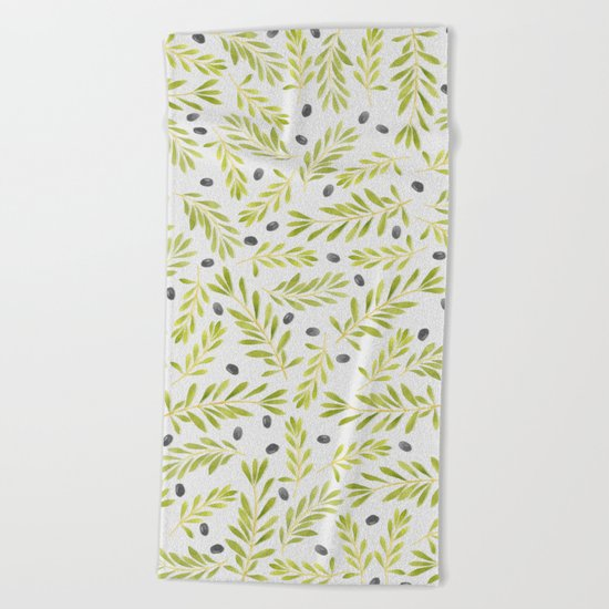 Watercolor Olive Branches Pattern Beach Towel