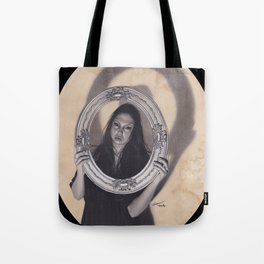 Realism Charcoal Drawing of Beautiful Woman with Antique Frame Tote Bag