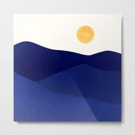 Indigo Mountains / Abstract Landscape Metal Print