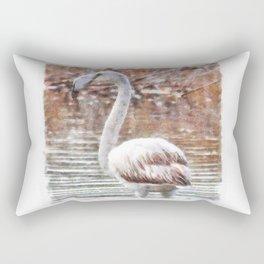 Flamingo Feathers Watercolor Rectangular Pillow