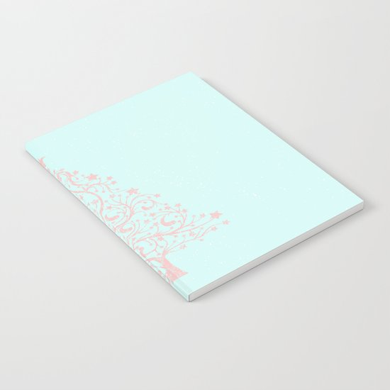 Merry christmas- Pink abstract christmastree on turquoise backround Notebook
