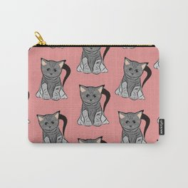 Sweet cats on pink background Carry-All Pouch