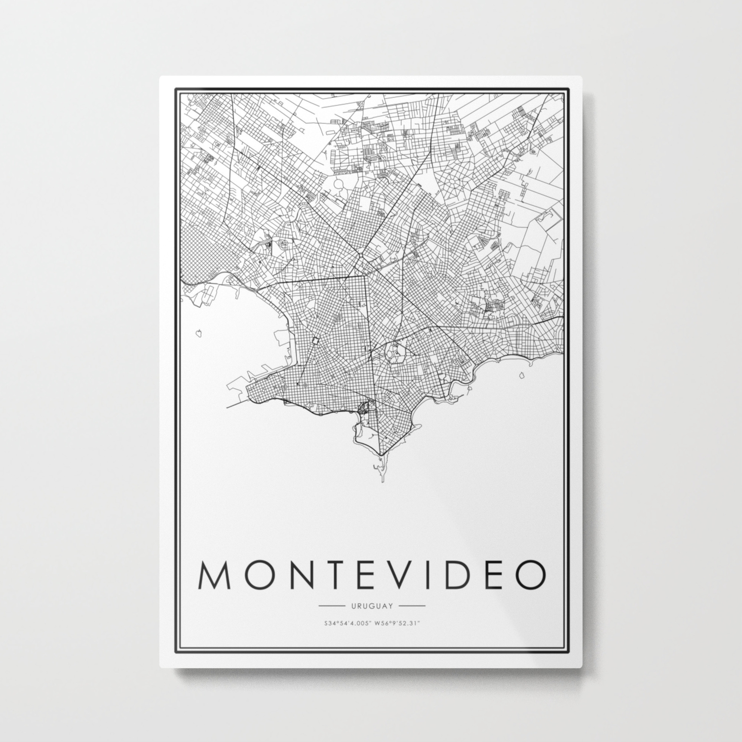 Image of: Montevideo City Map Uruguay White And Black Metal Print By Victorialyu Society6