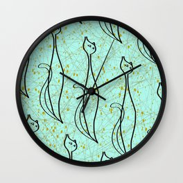 Mid Century Modern Cool Cats - Aqua Wall Clock