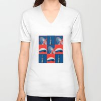 chicago V-neck T-shirts featuring Chicago by Arts and Herbs