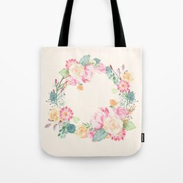 Spring Bouquet Wreath Seashell Floral Print Tote Bag