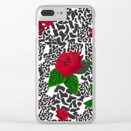 Shining Leopard Pattern With Hand Drawn Showy Red Roses Clear iPhone Case
