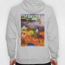 1950 Iconic Mexico Travel Poster Hoody