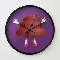 poop Wall Clocks featuring Poop by Adrián Sandá