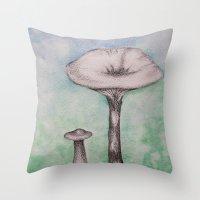 mushrooms Throw Pillows featuring mushrooms by Diane Nicholson