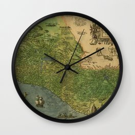 Map Of Mexico 1595 Wall Clock