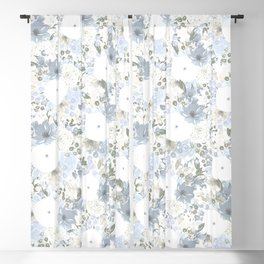 Light Blue Floral Pattern Blackout Curtain