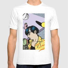 THREE SPHERES, A GIRL & A BEER Mens Fitted Tee MEDIUM White