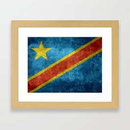 National flag of the Democratic Republic of the Congo, Vintage version (to scale) Framed Art Print