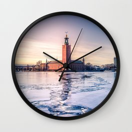 Stockholm City Hall in Winter Wall Clock