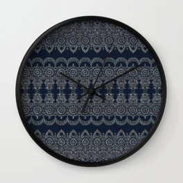 Silvery Striped Doodle Wall Clock