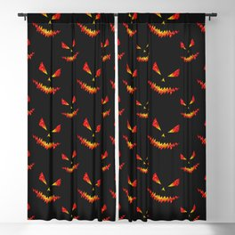 Sparkly Jack O'Lantern face Halloween pattern Blackout Curtain