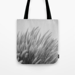 Foxtails on a Hill in Black and White Tote Bag