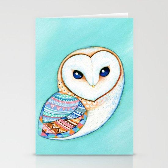 Tribal Pattern Barn Owl Stationery Cards