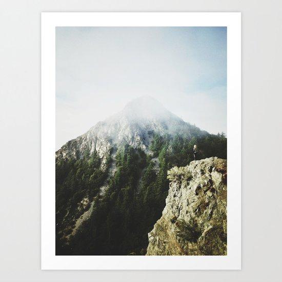 She saw the mountain mist Art Print