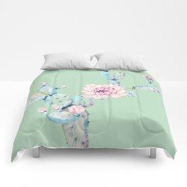 Rose Desert Cactus Mint Green + Pink Comforters