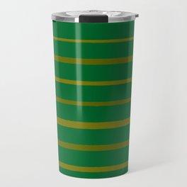 Emerald Green and Honey Gold Thin Stripes Travel Mug