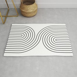 Geometric Lines in White and Black 7 Rug