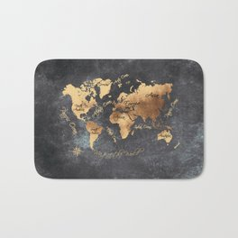 world map 147 gold black #worldmap #map Bath Mat