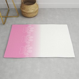 Pink And White Paws With Newsprint Background Rug