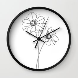 Botanical illustration line drawing - Anemones Wall Clock