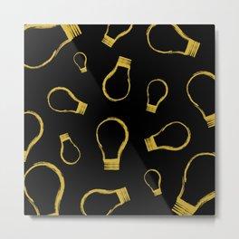 Light Bulb Gold Metal Print