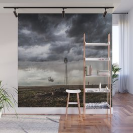 No Man's Land - Windmill on Stormy Day in Oklahoma Panhandle Wall Mural