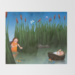 Baby Moses on the River Nile Throw Blanket