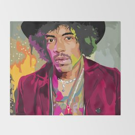 Jimi Hendrix Illustration Throw Blanket
