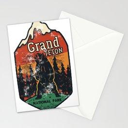 Grand Teton National Park Badge Emblem Camping Wyoming Bears print Stationery Cards