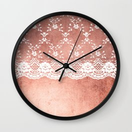 White floral luxury lace on pink rosegold grunge backround Wall Clock