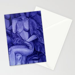 Lady Unknown Blue Stationery Cards