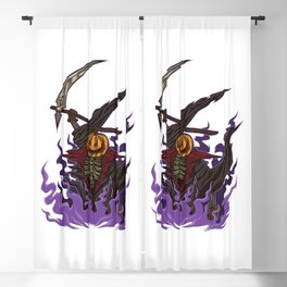 Pumpkin Grim Reaper - Scary Halloween Party Outfit Blackout Curtain