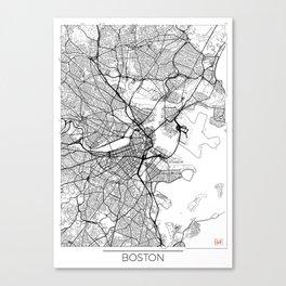 Boston Map White Canvas Print