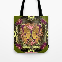 Ornate Mauve Swallow Tailed Butterfly Yellow-Khaki Design Tote Bag