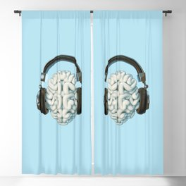 Mind Music Connection /3D render of human brain wearing headphones Blackout Curtain