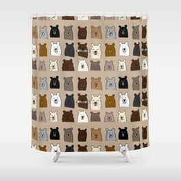 Bear Portraits on Brown Shower Curtain