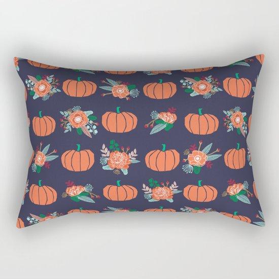 Pumpkin florals cute pattern pillow home decor dorm college seasonal fall autumn Rectangular Pillow