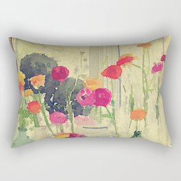 Vintage Water Color Botanical -- Colorful Spring Ranunculus Flowers Still Life Rectangular Pillow