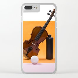 Still-life with a violin, a ball and a dark bottle Clear iPhone Case